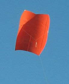 The MBK Simple Sled kite in flight.