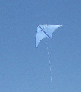 The MBK Multi-Dowel Delta kite in flight.