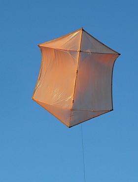The MBK Multi-Dowel Rokkaku kite in flight.