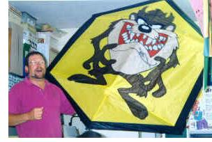 A big Rokkaku kite featuring a Tasmainian Devil cartoon character.