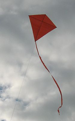 Simple Diamond kite - flying high on a 20 pound line.