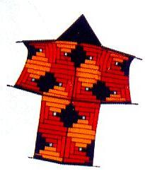 A Sode kite featuring geometric artwork in black and shades of orange.