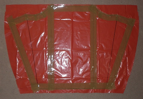 The Soft Sled kite - sail taped on marked side.