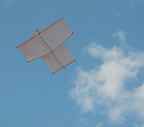 The MBK Dowel Sode kite in flight.